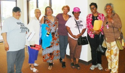 Members of DAREA after Detroit General Retirement System meeting June 10, where they publicized DAREA appeal of bankruptcy.