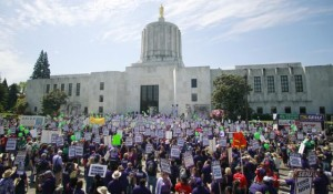 Protest against pension cuts in Salem, Oregon before partial victory at Supreme Court.