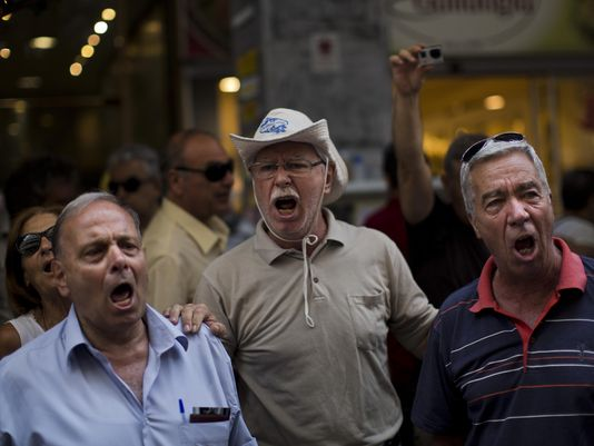 Pensioners protest in Athens 7 10 15