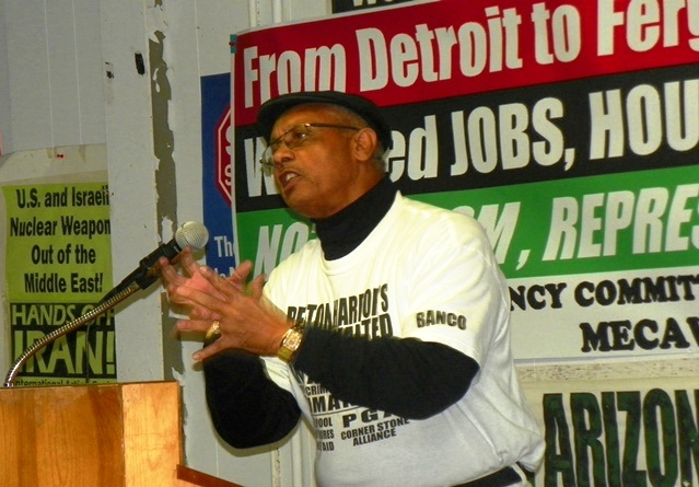 Rev. Edward Pinkney of BANCO speaks at Moratorium NOW! meeting in Detroit Nov. 17, 2014.