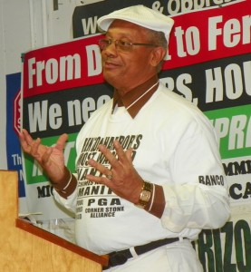 Rev. Edward Pinkney speaking in Detroit Oct. 10, 2014 at Moratorium NOW! HQ.