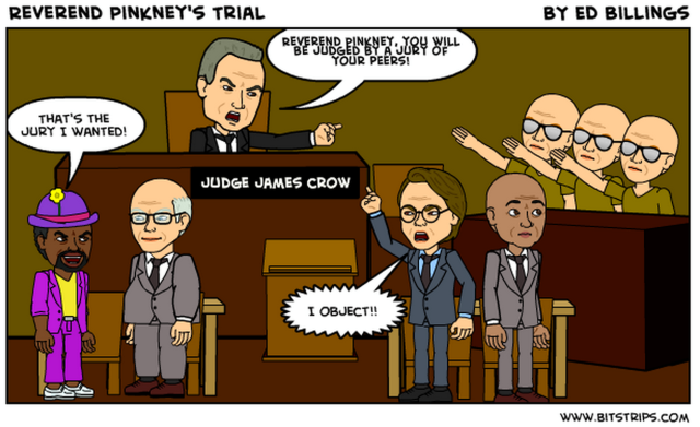 Benton Harbor Mayor James Hightower is at left in this cartoon depicting Rev. Pinkney's jury,