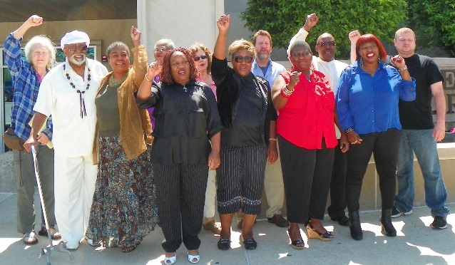 Some of Rev. Edward Pinkney's supporters outside courthouse during his preliminary exam May 31, 2014.