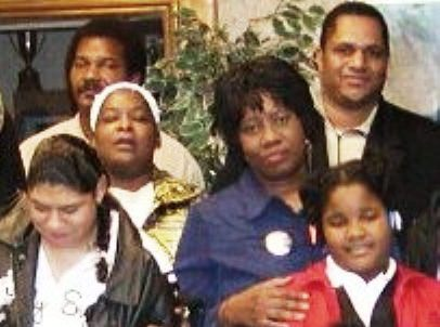 Arnetta Grable (center) and Cornell Squires (top right) have been some of the strongest supporters of Lennette and Mailauni Williams (at left). This photo is from an earlier hearing on police brutality. Williams has kept her daughter active in such events all her life.