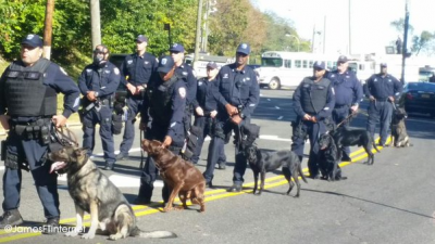 Police with dogs confronted Rise Up protesters. Photo: James from the Internet.