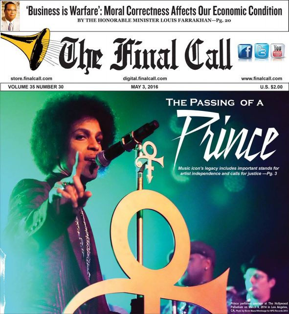 Front cover of the Final Call, May 3, 2016