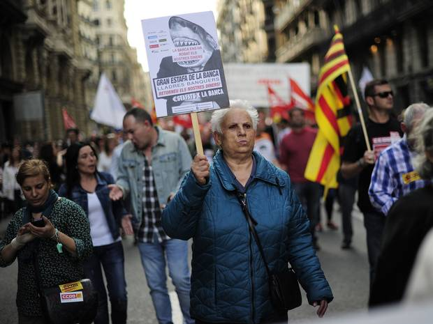 Retirees in Spain stand to lose most of their pensions as a result of banks' assault on their country.