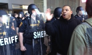 Protesters confront police outside courthouse after verdict. Photo: Daniel McGraw, The Guardian