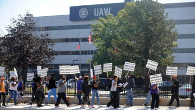 Protesters significantly chose to picket UAW Solidarity House in Detroit over the first contract which they voted down.