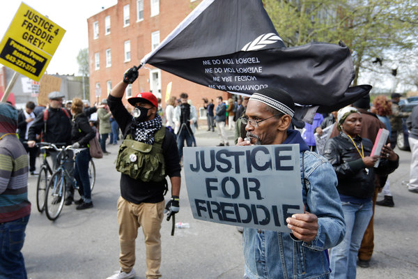 Freddie Gray protesters at Baltimore police station April 25, 2015.