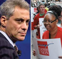 Chicago Mayor Rahm Emanuel, U.S. Pres. Barack Obama's  former education cabinet member, counterposed with one of chief opponents, Chicago teachers, who have struck to stop school closings and other cuts.