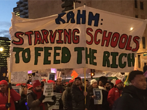 Teachers target Rahm Emanuel during protest where they occupied the Bank of America and withdrew CTU funds from the bank.