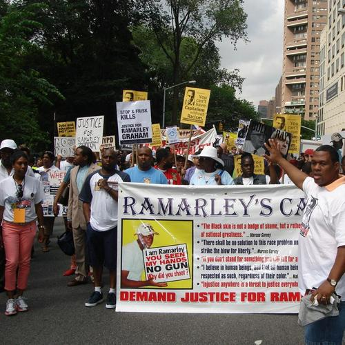 One of many rallies for Ramarley Graham, whose case was known around the world.