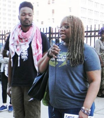 "Rasmea's Detroit supporters included Christian Bailey (l) and Tawanna ""Honeycomb"" Petty."