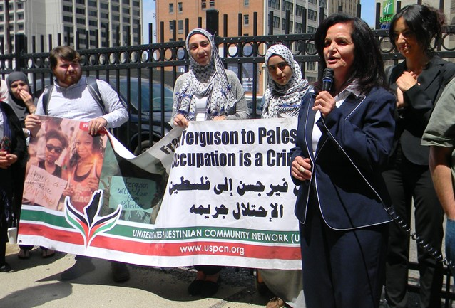 Rasmea Odeh thanks her supporters outside the Detroit federal courthouse June 13, 2016.
