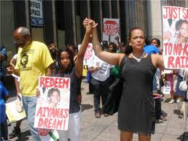 Jewell Allison and her daughter Honesti of New York City organized this march for Aiyana on June 26, 2010.