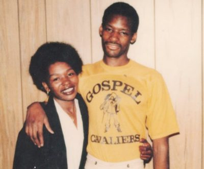 "Rosie Lewis with her son Charles in 1977, shortly after his conviction. He played in a prison band called the ""Gospel Cavaliers."""
