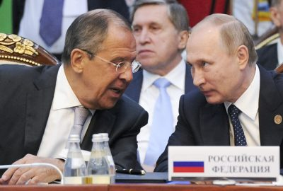Russian Foreign Minister Sergey Lavrov and President Vladimir Putin confer over US-led air strike in Syria. AP