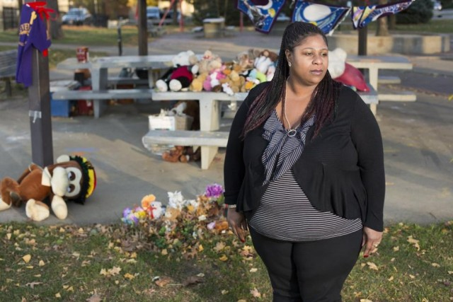 Samaria Rice at site of son's killing in Cudell Rec Center park.