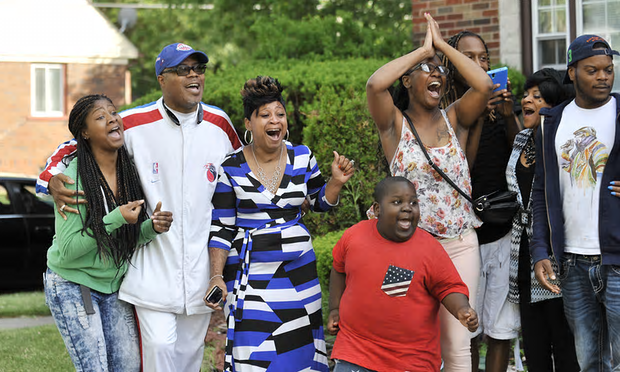 Joyous Sanford-Tilmon family greets Davontae as he arrives home June 8.