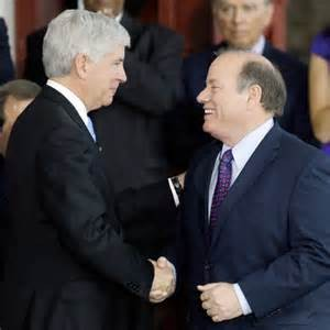 "Bosom buddies: Michigan Gov. Rick-tator Snyder, Detroit ""Mayor"" Mike Duggan"