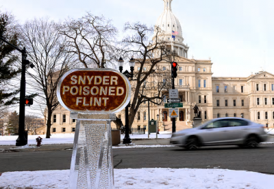 Ice sculpture at State Capitol Building in Lansing, MI.