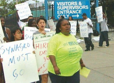 Southwest community organizer Denise Hearn leads protest against Synagro boondoogle outside the Detroit Wastewater Treatment Plant July 31, 2008.