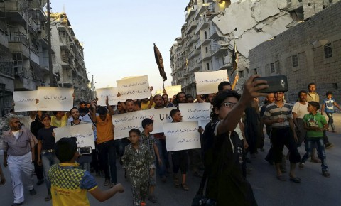 Syrian activists in Aleppo protest U.S. failure to get ISIS out of their city.