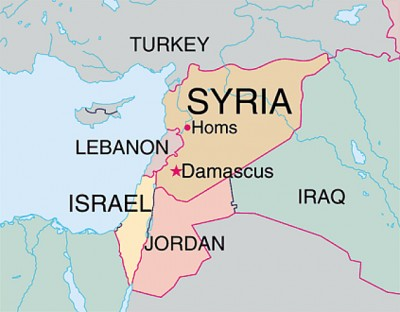 Map shows Syria's key location.