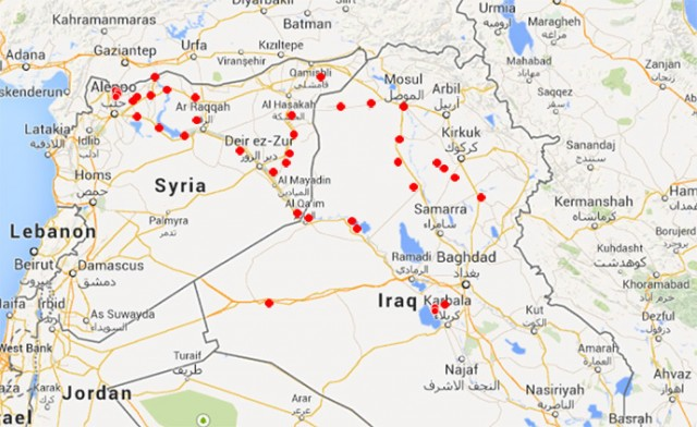 U.S. alleges these cities in Syria house ISIS rebels, who have been funded by the CIA from the start.