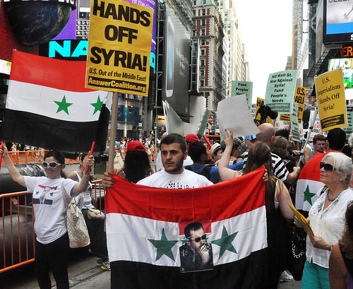 Mass protest against U.S. war on Syria in New York City's Times Square.