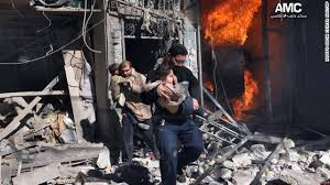 Syrian men help survivors out of building in Aleppo after air strikes.