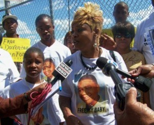 Taminko Sanford speaks at rally for her son outside Frank Murphy June 29, 2010.