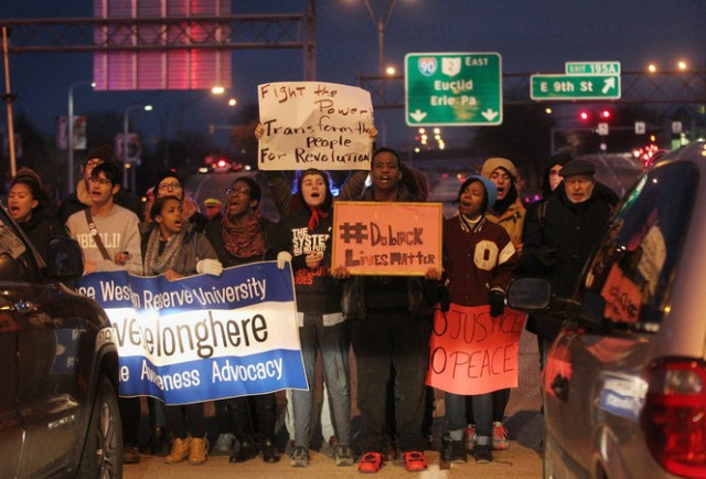 Front shot of Tamir Rice protesters occupying downtown Cleveland freeway.