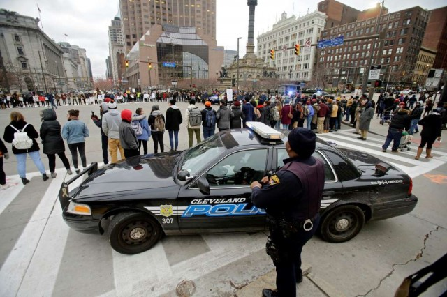 Tamir Rice protesters block Public Square in downtown Cleveland.