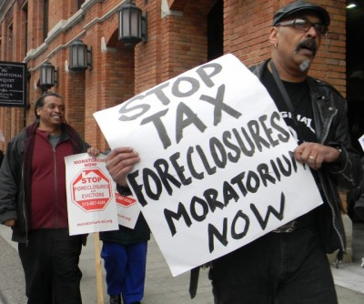 Protest at Wayne County Treasurer's Office March 23, 2016 against tax foreclosures pending for 30,000 Detroit families.