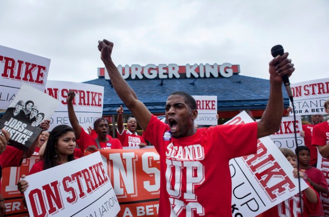 Terrance Wise leading strike at Burger King in Kansas City/ photo NYT