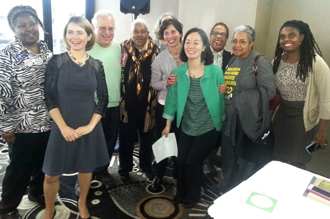 Final press conference Oct. 22; (l to r) Lila Cabbell, People's Water Board, Catarina De Albuquerque, UN Rapporteur, Jerry Goldberg, Moratorium NOW!, Maureen Taylor, MWRO, Leilani Farha, UN Rapporteur, UN aide, Attorney Alice Jennings, Marian Kramer, MWRO, UN aide.