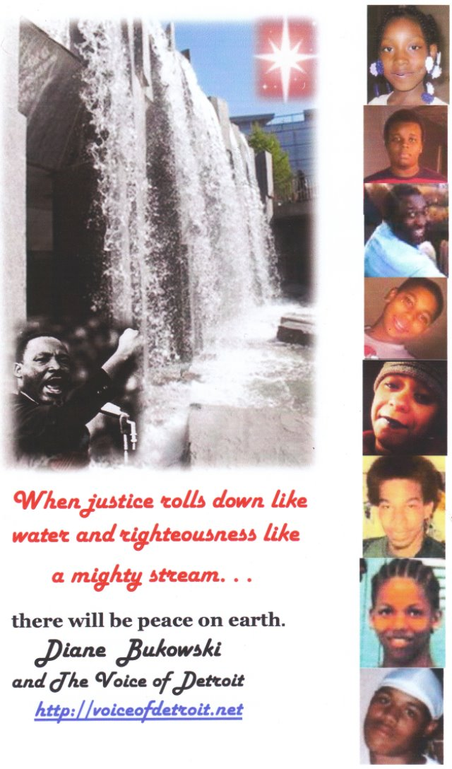 Some of thousands of Innocent lives taken by police:  (top down) Aiyana Jones, Detroit, 2010; Michael Brown, Ferguson 2014; Eric Garner, NYC, July 2014; Tamir Rice, 12, Cleveland, 2014; Aura Rosser, Ann Arbor, 2014; Lamar Grable, Detroit, 1996; Brandon Moore, 16, Detroit, 2006; Artrell Dickerson, 18, Detroit 2007.