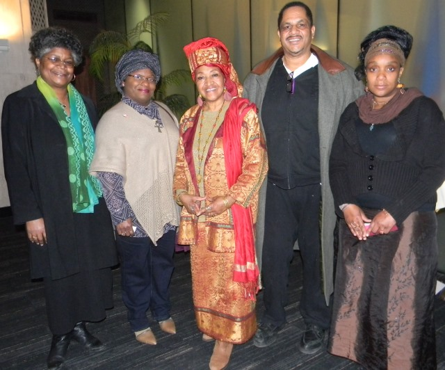 Protesting tax foreclosures at Wayne Co. Commission meeting March 17 were (l to r) Beverly Kindle-Walker, Kamala El, Queen Mother Nefertiti-El, Cornell Squires and