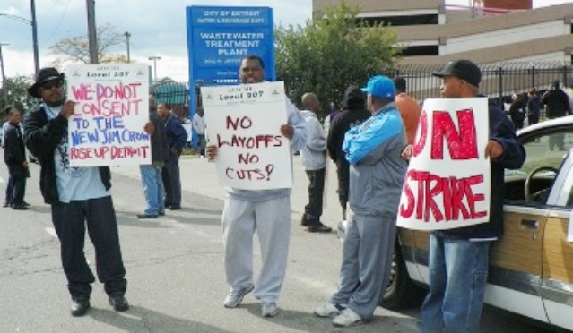 Heroic WWTP workers walked out in wildcat strike Sept. 30, 2012 to stop what is happening now. Leaders of AFSCME Council 25 sabotaged the strike and now Detroit may lose the Water & Sewerage Department.