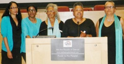 Aurora Harris (l) with other members of We the People of Detroit, (l to r) Cecily McClellan, Chris Griffith, Monica Lewis-Patrick, and Debra Taylor.