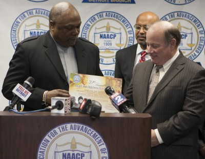 NAACP Pres. Wendell Anthony with Detroit Mayor Mike Duggan, Corporation Counsel Butch Hollowell at Freedom Fund dinner. Hollowell met with Judge Michael Hathaway ex parte to stop 36th District Court verdict on water shut-offs protesters.