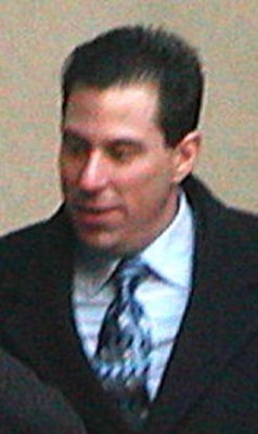 William 'Robocop' Melendez leaves federal court in 2004, during trial as ringleader in LA Ramparts-style scandal. Photo by Diane Bukowski