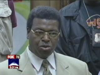 Former Detroit homicide chief WIlliam Rice after sentencing; he was charged after testifying on behalf of Sanford.