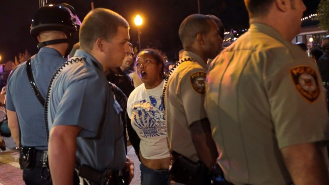 Woman is arrested by Ferguson police Sept. 25, 2014.