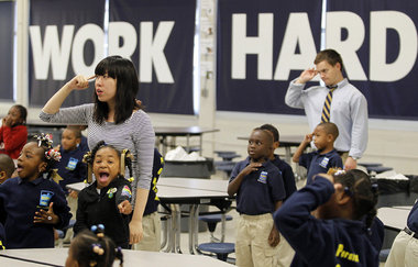 "Teachers have young Black students pledge to ""Work Hard"" at RSD elementary school."