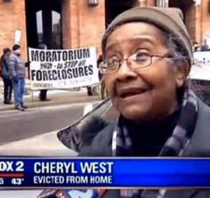 Cheryl West, evicted last week from her home of 60 years, during protest at Wayne Co. Treasurer's office March 31, 2015.
