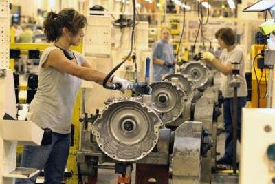 Women workers at Chrysler's Kokomo, Indiana transmission plant.