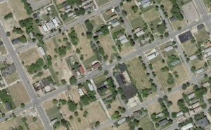 Aerial view of vacant lots in Detroit, and abandoned homes.